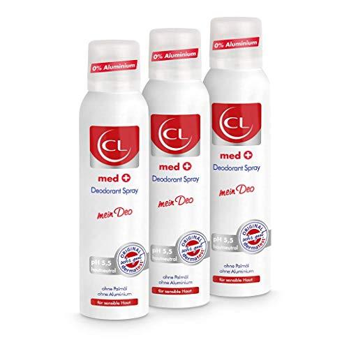 CL med + Deodorant Spray für sensible Haut - 3er Pack 150 ml Deo Spray ph hautneutral ohne Aluminium & Zink bietet aktiven Schutz & sanfte Pflege - Deo Herren & Damen - Deodorant Männer & Frauen