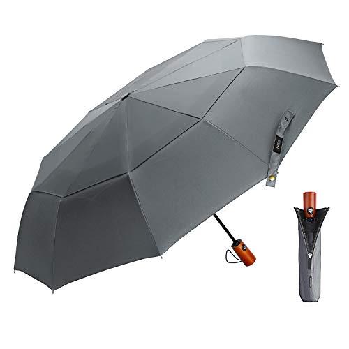 EKOOS Regenschirm Taschenschirm Automatik Groß Winddicht Doppel Baldachin 210T Stoff Auf-Zu-Automatik10 Rippen mit Fiberglas Gestänge (Elegantes Grau)