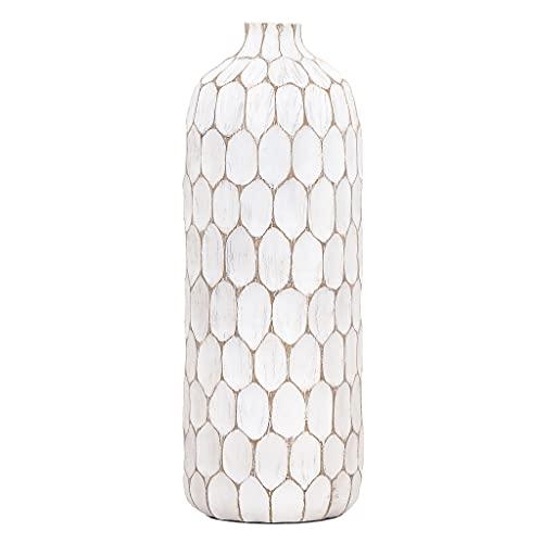 Torre & Tagus Carved Divot Resin Vase, Tall Bottle Vase