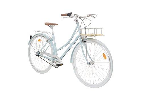 Fabric City Bicicleta de Paseo- Bicicleta de Mujer 28' con Cesta, Cambio Interno Shimano 3V, 5 Colores, 14kg (Blue Hampstead Deluxe)