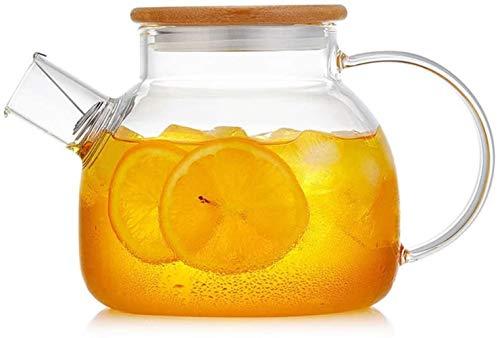 Jarra de agua de vidrio con cubierta de bambú, jarra de cristal para casa, oficina, hielo, botella de agua fría, agua caliente, vino, café, leche y zumo, jarra de agua (tamaño : 1,6 l)