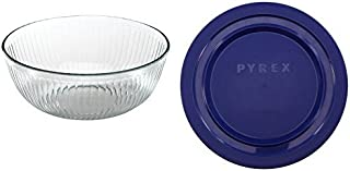 Pyrex Sculpted Round Mixing Bowl with Plastic Lid, 4.5 Qt