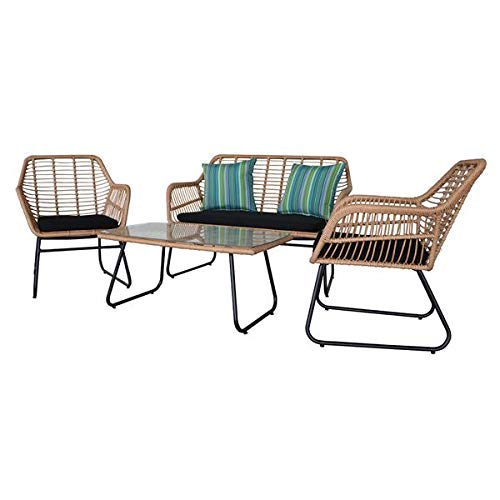 Krispich Outdoor Rattan Chair Patio Furniture Set with Table Cushions Tan 4pcs
