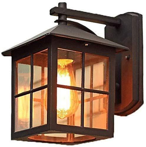 E27 Vintage Außen-Wandleuchte Schwarz Industrial Wandllampe Wasserdicht Aluminumguss und Glas Landhaus Stil Antik Wand-Außenleuchte Balkon Lampe für Garten Flur Außenwand B24*H26.5CM