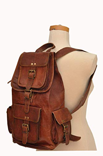 HLC 20' Genuine Leather Retro Rucksack Backpack Brown Leather Bag Travel Backpack for Men Women