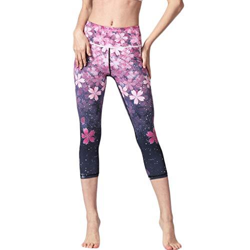 Cinnamou Legging Sport Femme Capri Pantacourt Femme Taille Haute Motif Imprimé Yoga 3/4 Sport Running Fitness Pilates