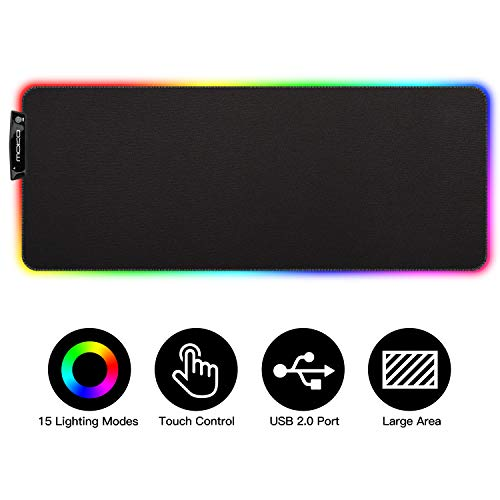 MoKo RGB Gaming Mouse Pad, Large Extended Glowing Led Mousepad with 15 Lighting Modes and USB 2.0 Port, Non-Slip Rubber Base Computer Keyboard Pad Mat for Gamer, 32.09 x 12 x 0.16 Inch - Black