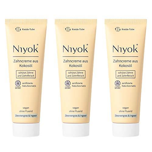 Niyok® Kokosöl Zahnpasta ohne Fluorid und Mikroplastik Plastik | Bio Naturkosmetik Sensitiv auch für Kinder | Xylit Herbal | natürliche Zahncreme VEGAN | Zitronengras & Ingwer (3x 75ml)