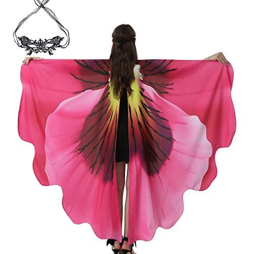 Vovvee Alas de mariposa con encaje, disfraz de papagayo, carnaval, para mujer, disfraz de mariposa para Navidad, disfraz, Halloween, fiesta, cosplay, festival A-flower-c Small