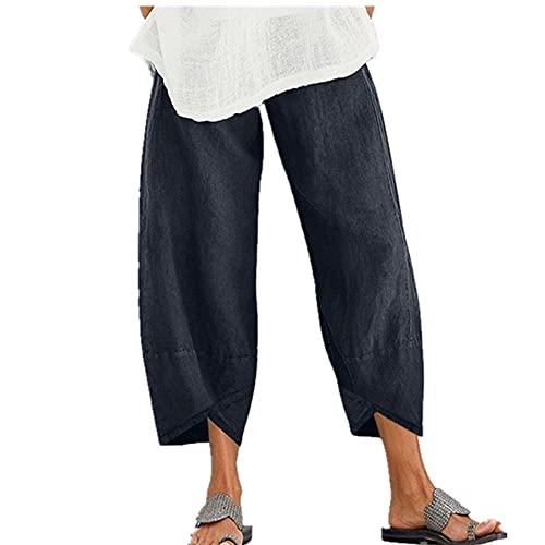 N\P Vintage Harem Pantalones Mujeres Casual Suelto Impreso Cintura Elástica Algodón Lino Ancho