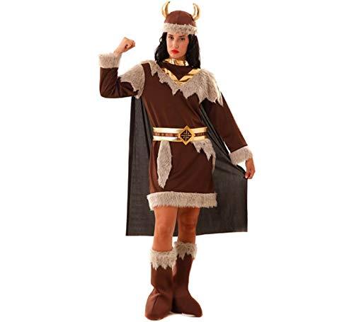 Kostüm Wikinger Frau Odeta S- XXL Kleid braun Fasching Seeräuberin (XXL)