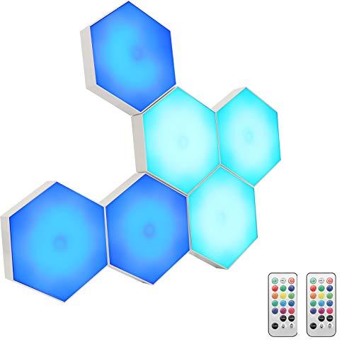 Lámpara de pared hexagonal Smart Touch modular, luz LED RGB, luz nocturna DIY Geometría Spleißen Quantum, para dormitorio, salón, bar, fiesta, decoración, regalo, 6 unidades