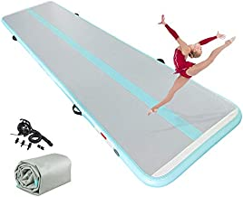ibigbean Tumble Track Spring Floor Home Gymnastics Training Mat for Home Use,Beach, Park and Water(20'x3.3'x4''Iceblue)