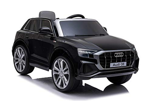RIRICAR Elektrische Spielzeug Auto Q8, schwarz, original lizenziert, Ledersitz, öffnende Türen, 2 x 25 W Motor, 12 V Batterie, 2,4 GHz Fernbedienung, weiche Eva-Räder