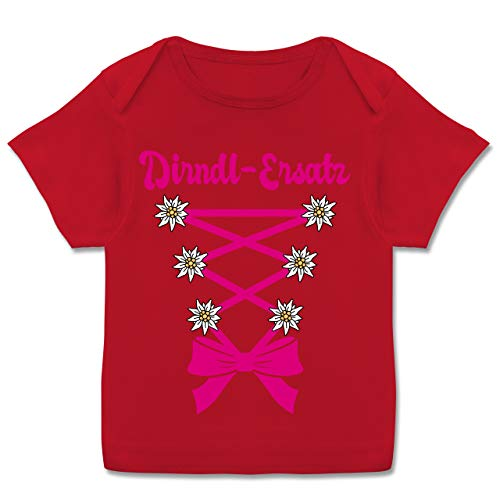 Oktoberfest Baby - Dirndl-Ersatz Korsage - Fuchsia - 56-62 - Rot - Dirndl Baby 86 - E110B - Kurzarm Baby-Shirt für Jungen und Mädchen