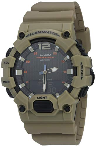 Casio Men's 10 Year Battery Quartz Resin Strap, Green, 27.5 Casual Watch (Model: HDC-700-3A3VCF)