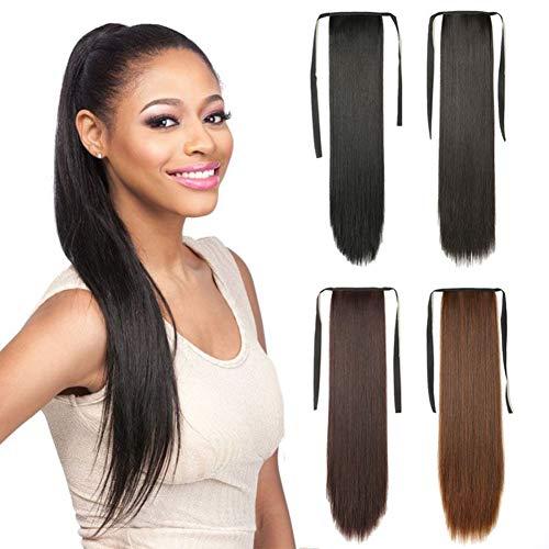 Remeehi Extension per capelli in coda di cavallo, con capelli umani e in fibra sintetica lunghi e lisci, con clip, per ragazze e donne