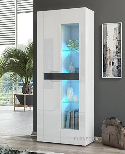 Furneo White 2-Door Display Cabinet Cupboard Matt & High Gloss Milano08 Blue LED Lights