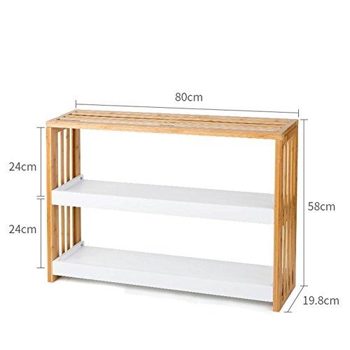 WYYY plank multi-vlees rack multifunctionele woonkamer slaapkamer dubbele bamboe hout kleur 19,8 * 58 * 80cm 19.8 * 58 * 80cm