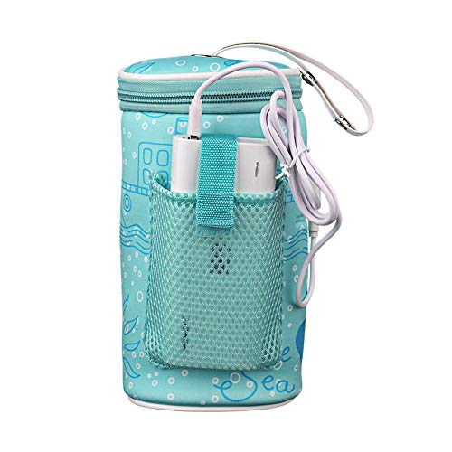 Bolsa térmica para biberón de bebé, portátil, portátil, con calefacción, USB, para viajes al aire libre, coche (banco de energía no incluido)