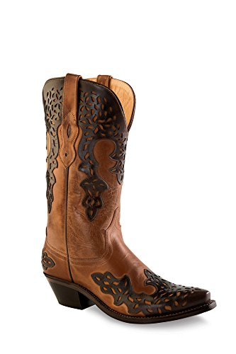 Old West Brown Womens Overlay Leather 12in Fancy Cowboy Boots Boots 5 B