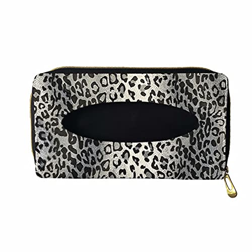 XYZCANDO Silver Leopard Print Sun Visor Tissue Box, Durable Sun Visor Tissue Holder, Car Accessories for Easy Use, PU Leather Backseat Tissue Case for Car, Auto, Vehicle, Napkin Holder with 2 Hook