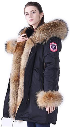S.ROMZA Cappotti Donna Inverno Ecopelliccia Rivestimento Parka con Vero Collo di Pelliccia di Procione (S, Nero)