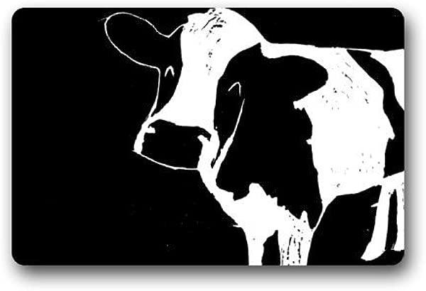 TOGEFRIEND Door Mat Abstract Black And White Milk Cow Art Funny Animal Doormat Rug Indoor Outdoor Front Door Bathroom Mats Floor Mat 23 6inch X 15 7inch