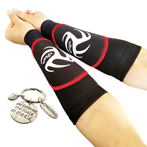 Volleyball Padded Sleeves for Younger Girls and Boys - Passing Forearm Sleeves with Protection Pad (Red Padded Sleeves Without Thumbhole, 8)