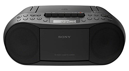 Sony CFDS70-BLK CD/MP3 Cassette Boombox Home Audio Radio, Black, With Aux