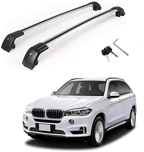 MotorFansClub Roof Racks Crossbars for BMW X5 F15 2014-2018 Lockable Baggage Luggage Racks Roof Rail Cross Bar (2 PCS)