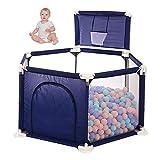 WLAN Baby- und Kleinkinder Laufstall und Bällebad-Set Spielcenter mit atmungsaktivem Mesh für Neugeborene, Indoor- und Outdoor-Spiele (Bälle Nicht enthalten),Blau