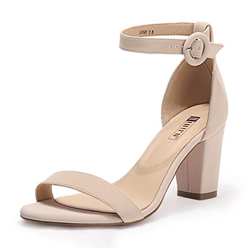 IDIFU Women's IN3 Amy Block Heels Sandals Comfy Ankle Strap Open Toe Chunky Wedding Dress Shoes with Round Buckle (Nude Nubuck, 7.5 M US)