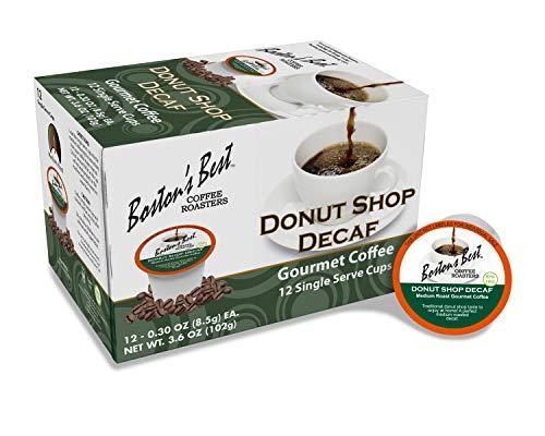 Boston's Best Coffee Roasters - Donut Shop Blend Decaf - Medium Roast 100% Arabica Coffee - 12 Single Serve Keurig-Compatible K-Cup Pods