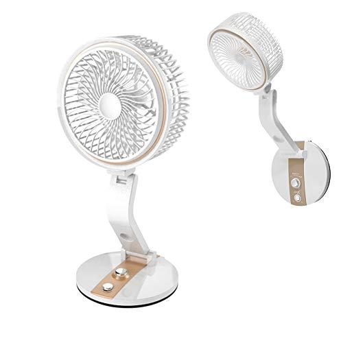 Ytimelyd Ventilador de Montaje en Pared de Escritorio con lámpara LED, Ventilador Recargable USB de 7 Pulgadas y Tranquilo para la Oficina de la Oficina Gimnasio Camping Viajar,Oro