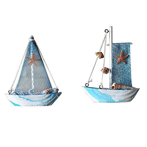 SCDZS 2 unids Mediterráneo Rústico de Madera Barco de navegación Decoración for el hogar Modelo de velero Decoración Decoración de la Tabla Decoración de Mesa Mostrar Adorno