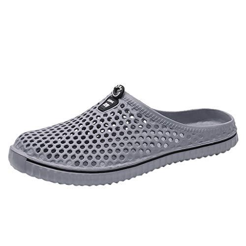 ZIYOU Unisex Breathable Clogs & Pantoletten, Männer Frauen Aushöhlen Schuhe Casual Paar Strand Sandale Flip Flops Schuhe(Grau,39 EU)
