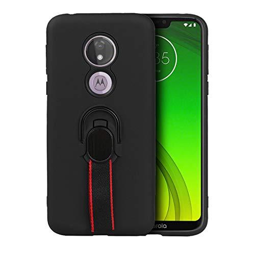 ROMANTIQUE Funda para Moto G7 Power Case Gel TPU Suave Anti Deslizamiento Case con Selfie Soporte (Negro)