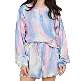 Pajamas Set Womens Tie Dye Printed Ruffle Short Lounge Set Long Sleeve Tops and 2 Piece Sleepwear (Blue, Small)