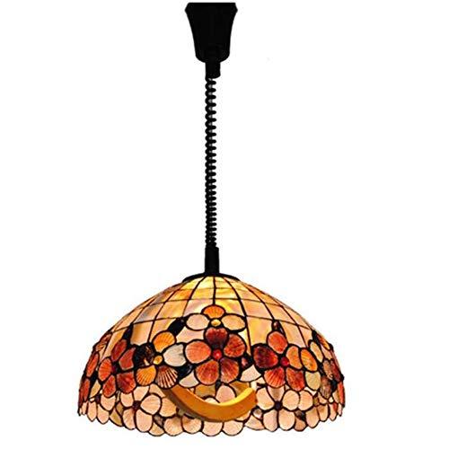 CLX Tiffany Pendelleuchte Classic 16 Zoll Flower Lift Lampe Shell Mahjong Lampe Arbeitslicht Europäische Einfache Beleuchtung Stehtisch Werkbank,16inch
