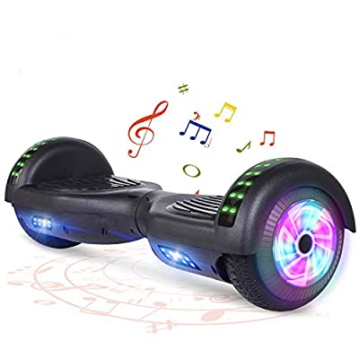 """FLYING-ANT Hoverboard with Bluetooth, Self Balancing Electric Scooter 6.5"""" Two-Wheel Hover Boards with LED Lights for Kids and Adult-A02B Black"""