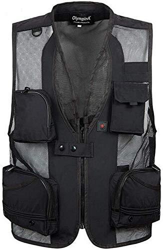 PXX outdoor zomer uitgehold dun meervoudig vest jas vissen Gilet Multifunctionele mesh ademende vest jas UK * -Große M1 zwart