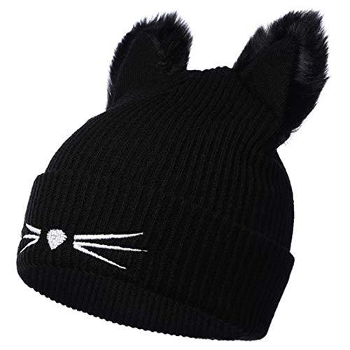 Yixda Bonnet Chapeau Tricoté Femme Mode Hiver Chat Oreilles Beanie Hats (Noir)