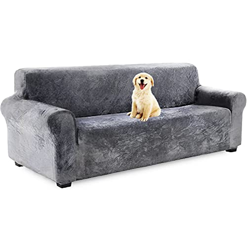 YQ WHJB Velvet Plush Couch Cover, Stretch Sofa Cover Slipcover Soft Thick Sofa Protector for L-Shape Sectional Couch,1 2 3 4 Seater -Grey Sofa