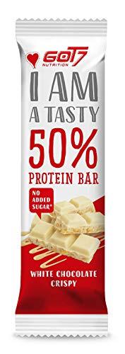 GOT7 50{ca37a22f789675b9b744c1bc2bce60e20ea5996e4bb6a964bb515005851cedb3} Protein Bar 60g - Protein Riegel ohne Zuckerzusatz - Low Sugar Eiweißriegel - Fitness Riegel (White Chocolate Crispy, 20 x 60g)