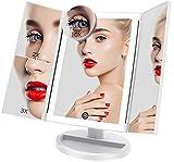 FASCINATE Miroir de Maquillage 3 modes D'éclairage de Couleur 36 LED Miroir de Vanité 1X / 2X / 3X/10X Miroir à Trois Volets Contrôle Tactile Miroir à Grossissement Elevé Définition Cosmétique (Blanc)