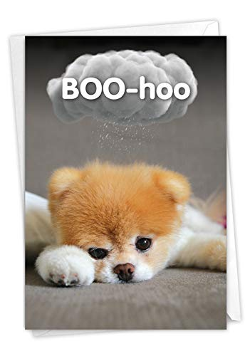 Boo-Hoo - Cute Dog Miss You Greeting Card with Envelope (4.63 x 6.75 Inch) - Sweet Pet Dog Boo, Thinking of You Notecard - Loving Stationery C6869MYG