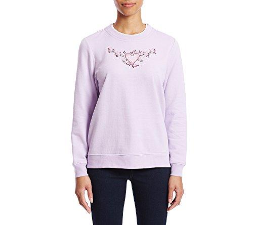 Breckenridge Petites' Delicate Heart Crewneck Sweater Petite Medium