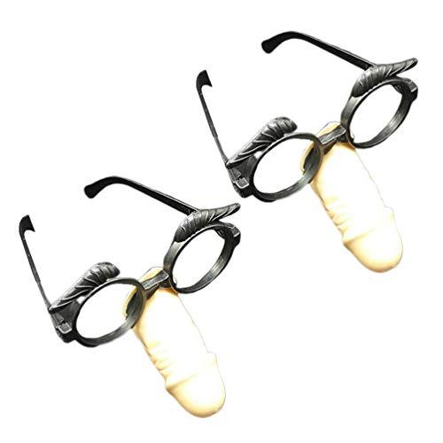 Amosfun bachelor party brille penis nase brille lustige bachelorette party brille rahmen halloween party lange nase brille 2 stück