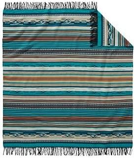 Pendleton Chimayo Wool Throw Size Blanket, Turquoise Stripe